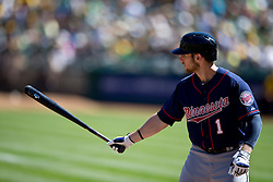OAKLAND, CA - SEPTEMBER 22: Alex Presley #1 of the Minnesota Twins at bat against the Oakland Athletics during the first inning at O.co Coliseum on September 22, 2013 in Oakland, California. The Oakland Athletics defeated the Minnesota Twins 11-7 as they clinched the American League West Division. (Photo by Jason O. Watson/Getty Images) *** Local Caption *** Alex Presley
