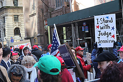 March 23, 2019 - New York City, New York, US - U.S.President Donald Trump's MAGA-supporters rallied in the shadow of Trump Tower on Fifth Avenue, New York City on 23 March, 2019, in supporter of their leader. Passers-by and on-lookers commented that by comparison, the rally was one of the smaller events in the Trump-era, attracting two hundred-plus died-hard supporters. (Credit Image: © G. Ronald Lopez/ZUMA Wire)