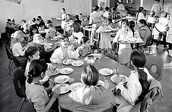 School dinners, Stanley Junior School, Nottingham November 1986 UK