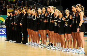 Silver Ferns line up<br /> Netball - 2009 Holden International Test Series<br /> Australian Diamonds v New Zealand Silver Ferns<br /> Wednesday 9 September 2009<br /> Hisense Arena, Melbourne AUS<br /> © Sport the library / Jeff Crow