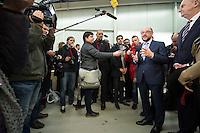 22 FEB 2017, KOENIGS WUSTERHAUSEN/GERMANY:<br /> Martin Schulz (2.v.R.) , SPD, Kanzlerkandidat, und Dietmar Woidke (R), SPD, Ministerpraesident Brandenburg, waehrend einem Pressestament, nach einer Besichtung der Produktionhallen der Firma Schlechen GmbH / pedag International<br /> IMAGE: 20170222-01-045