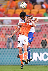 October 22, 2017 - Brisbane, QUEENSLAND, AUSTRALIA - Brett Holman of the Roar (#10) and Nikolai Topor-Stanley of the Jets compete for the ball during the round three Hyundai A-League match between the Brisbane Roar and the Newcastle Jets at Suncorp Stadium on October 22, 2017 in Brisbane, Australia. (Credit Image: © Albert Perez via ZUMA Wire)