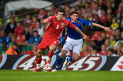 CARDIFF, WALES - Friday, September 5, 2008: Wales' Gareth Bale and Azerbaijan's Djavid Huseinov during the opening 2010 FIFA World Cup South Africa Qualifying Group 4 match at the Millennium Stadium. (Photo by David Rawcliffe/Propaganda)