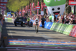 Boy Van Poppel (NED) Trek-Segafredo approaches the finish line of Stage 1 of the 2016 Giro d'Italia, an individual time trial of 9.8km around Apeldoorn, The Nethrerlands. 6th May 2016.<br /> Picture: Eoin Clarke | Newsfile<br /> <br /> <br /> All photos usage must carry mandatory copyright credit (© Newsfile | Eoin Clarke)