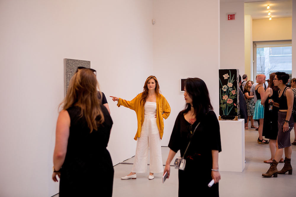 NEW YORK, NY - JUNE 30, 2016: Actress Grace Gummer looks at art at the David Zwriner gallery along with her childhood friend Karline Moeller in New York, New York. CREDIT: Sam Hodgson for The New York Times.