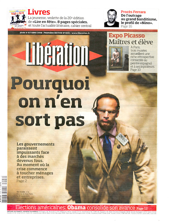 Wall Street Crisis - Cover of Libération, France.