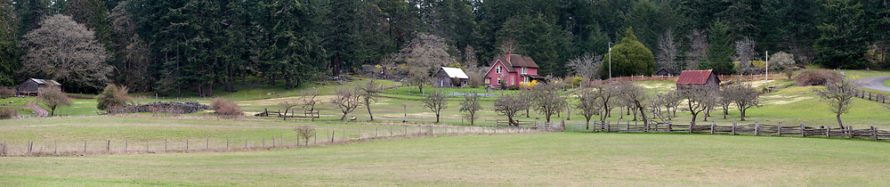 Panorama of the Daniel Henry Ruckle house and part of the active farmland in Ruckle Provincial Park on Salt Spring Island, British Columbia, Canada. The Ruckle Farm has been in continuous use as farmland since Henry Ruckle began farming in 1872.  Photographed from Beaver Point Road next to the park headquarters building.