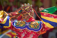 Mask dance celebrating Tshechu Festival at.Wangdue Phodrang Dzong, Wangdi, Bhutan