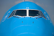 passengers KLM jumbo jet airplane cockpit view