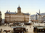 Dam Square with the  Royal Palace, centre, and Nieuwe Kerk (New Church) Amsterdam, Holland 1890-1900. Church mainly rebuilt in Gothic style after a fire in 1645. Netherlands Transport Horse Tram Pedestrian Street Cobbles