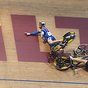 Alex Bird (left) Australia, and Mitchell Bullen, Australia, crash during the Keirin Semi Final at the 2012 Oceania WHK Track Cycling Championships, Invercargill, New Zealand. 23rd November 2011. Photo Tim Clayton...