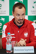 Sopot, Poland - 2018 April 05: Radoslaw Szymanik from Poland looks forward while press conference two days before Poland v Zimbabwe Tie Group 2, Europe/Africa Second Round of Davis Cup by BNP Paribas at 100 years of Sopot Hall on April 05, 2018 in Sopot, Poland.<br /> <br /> Mandatory credit:<br /> Photo by © Adam Nurkiewicz / Mediasport<br /> <br /> Adam Nurkiewicz declares that he has no rights to the image of people at the photographs of his authorship.<br /> <br /> Picture also available in RAW (NEF) or TIFF format on special request.<br /> <br /> Any editorial, commercial or promotional use requires written permission from the author of image.