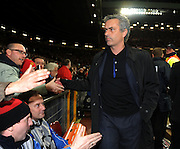 Jose Mourinho, manager of Inter Milan greets the fans before the UEFA Champions League First Knockout Round Second Leg match between Manchester United and Inter Milan at Old Trafford on March 11 2009, in Manchester, England.