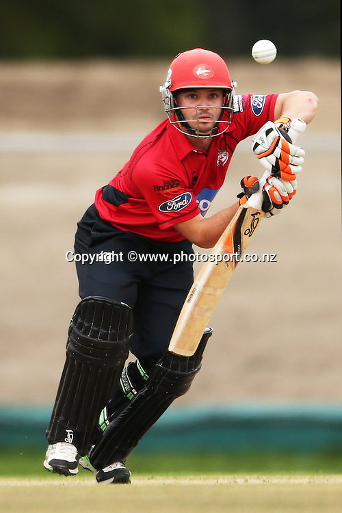 Brad Cachopa of the Wizards batting during the Preliminary Final in the Ford Trophy One-Day cricket match between the Canterbury Wizards v Wellington Firebirds at Hagley Oval, Christchurch. 2 April 2014 Photo: Joseph Johnson/www.photosport.co.nz