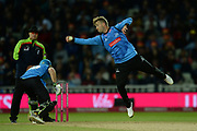 Will Beer of Sussex fields off his own bowling during the final of the Vitality T20 Finals Day 2018 match between Worcestershire Rapids and Sussex Sharks at Edgbaston, Birmingham, United Kingdom on 15 September 2018.