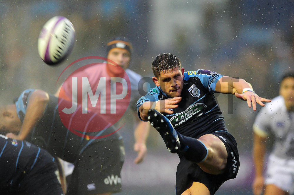 Lloyd Williams of Cardiff Blues box-kicks the ball - Mandatory byline: Patrick Khachfe/JMP - 07966 386802 - 10/12/2016 - RUGBY UNION - Cardiff Arms Park - Cardiff, Wales - Cardiff Blues v Bath Rugby - European Rugby Challenge Cup.