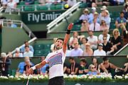 Novak Djokovic (SRB) serves during the preliminary rounds of the Roland Garros Tennis Open 2017 at Roland Garros Stadium, Paris, France on 2 June 2017. Photo by Jon Bromley.