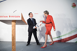 © Licensed to London News Pictures . 17/03/2017 . Cardiff , UK. Prime Minister THERESA MAY is welcomed on stage by ALUN CAIRNS (l) at the Conservative Party Spring Conference at the SSE SWALEC Stadium in Cardiff . Photo credit: Joel Goodman/LNP