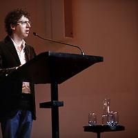 Nederland, Amsterdam , 23 februari 2014.<br /> De poëzie van Gerard Reve - gelezen door Arnon Grunberg in de Nieuwe Liefde.<br /> Bekend van zijn proza en brievenboeken, maar weinigen kennen zijn gedichten. Toch is het poëzie waarmee Gerard Reve debuteerde. Mystiek en godsdienst, tragiek en ironie voeren ook hier de boventoon. De voordracht van zijn gedichten wordt versterkt door krachtige en bluesy muziek van Hammond-speler Bas van Lier en drummer Erik Kooger. Met een mini-college en een column.<br /> Foto:Jean-Pierre Jans