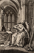 Heloise (1101-1162) French nun and Latin, Greek and Hebrew scholar.  The love story of Heloise and Pierre Abelard is one of the world's great tragic romances. 18th century engraving of Heloise as a nun.