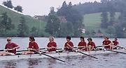 Lucerne, SWITZERLAND GBR W8+. Bow, Suzanna KIRK, Gillian LINDSEY, Dot BLACKIE, Agatha BARNETT, KiM THOMAS, Susan SMITH, Kate GROSE, kate BROWNOW. 1992 FISA World Cup Regatta, Lucerne. Lake Rotsee.  [Mandatory Credit: Peter Spurrier: Intersport Images] 1992 Lucerne International Regatta and World Cup, Switzerland