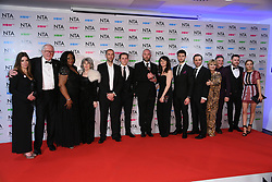 Katherine Dow Blyton, Laura Norton, Andrew Scaborough, Lesley Dunlop, Danny Miller and the cast of Emmerdale in the press room after the National Television Awards 2018 held at the O2, London. Photo credit should read: Doug Peters/EMPICS Entertainment