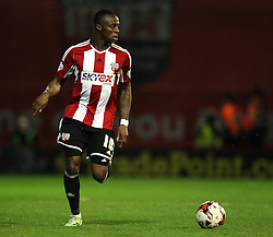 Brentford's Moses Odubajo - Photo mandatory by-line: Robbie Stephenson/JMP - Mobile: 07966 386802 - 08/05/2015 - SPORT - Football - Brentford - Griffin Park - Brentford v Middlesbrough - Sky Bet Championship