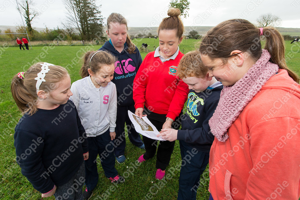 Cora Kennely from Inis Meain showing Alanah Kerin, Leah McNamara, Maeve Meehan, Oisin McNamara, and Lila Edge challenges of farming on the Aran Islands