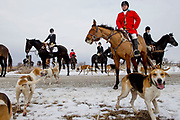 Brit Vegas, left, sits on her horse as Dave Kruger, right, leads the North Hills Hunt goes fox hunting on Sunday, January 29, 2017 in Missouri Valley, IA. The group is comprised of members the North Hills Hunt and uses hounds to pursue in Iowa and Nebraska.