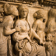 Sarcophagus with depiction of Phaedra-Hyppolite, made of marble, from Tripoli, and dating to the Roman period around the end of the 2nd century AD on display in the main building of the Istanbul Archaeology Museums. The Istanbul Archaeology Museums, housed in three buildings in what was originally the gardens of the Topkapi Palace in Istanbul, Turkey, holds over 1 million artifacts relating to Islamic art, historical archeology of the Middle East and Europe (as well as Turkey), and a building devoted to the ancient orient.