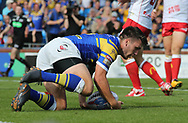 Tom Briscoe of Leeds Rhinos scores the try against Hull Kingston Rovers during the Super 8s the Qualifiers match at Emerald Headingley  Stadium, Leeds<br /> Picture by Stephen Gaunt/Focus Images Ltd +447904 833202<br /> 01/09/2018