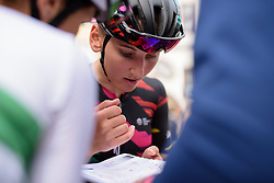 Lisa Brennauer studies the finish in the final CANYON//SRAM Racing team meeting ahead of Thüringen Rundfarht 2016 - Stage 1 a 67km road race starting and finishing in Gotha, Germany on 15th July 2016.