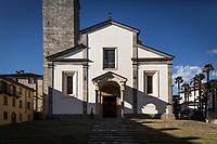 VERBANIA, ITALY - 18 APRIL 2017: The church of Saint Leonard, where the funeral of Emma Morano took place, is seen here in Verbania, Italy, on April 18th 2017.<br /> <br /> Emma Morano was an Italian supercentenarian who, prior to her death at the age of 117 years and 137 days, was the world's oldest living person whose age had been verified, and the last living person to have been verified as being born in the 1800s. She died on April 15th 2017.