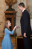 King Felipe VI of Spain, Queen Letizia of Spain, Crown Princess Leonor, Princess Sofia, King Juan Carlos of Spain, Queen Sofia of Spain  attend the Delivery of the Order of the Toison de Oro at Zarzuela Palace on January 30, 2017 in Madrid