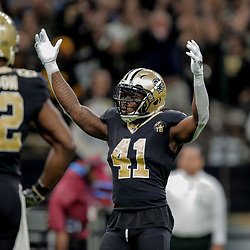 Dec 23, 2018; New Orleans, LA, USA; New Orleans Saints running back Alvin Kamara (41) celebrates after a touchdown against the Pittsburgh Steelers during the fourth quarter at the Mercedes-Benz Superdome. Mandatory Credit: Derick E. Hingle-USA TODAY Sports