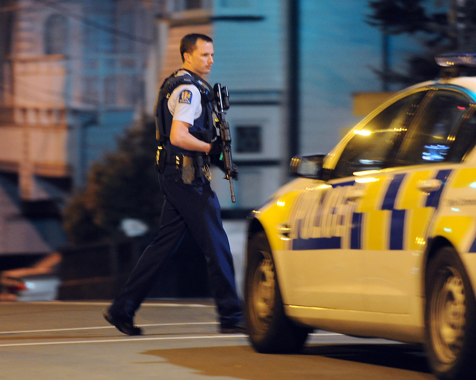 The central city around Boulcott Street and the Terrace was cordoned off by armed police after the AOS was called out to a possible firearms incident in a block of apartments around 2.00am, Wellington, New Zealand, Sunday, April 27, 2014. Credit:SNPA / Ross Setford