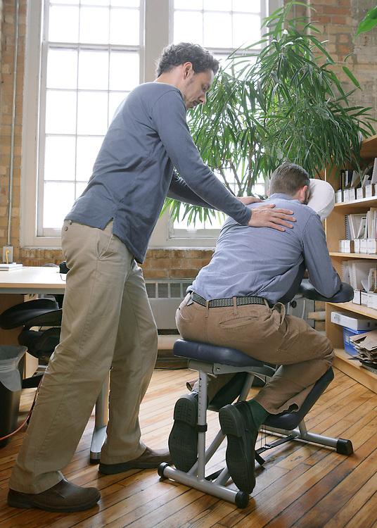 On-location office chair shiatsu massage with Ian Elliott