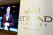 ABU DHABI, UAE - FEBRUARY 8, 2015: The new collection of Etihad Airways uniform has been designed by Italian Haute Couturier Ettore Bilotta.