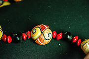 Colourful Cuban land snail or the Painted snail (Polymita picta), necklace from Baracoa, Cuba
