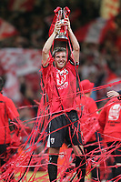 Photo: Lee Earle.<br /> Barnsley v Swansea City. Coca Cola League 1. Play off Final. 27/05/2006. Barnsley captain Paul Reid celebrates promotion.