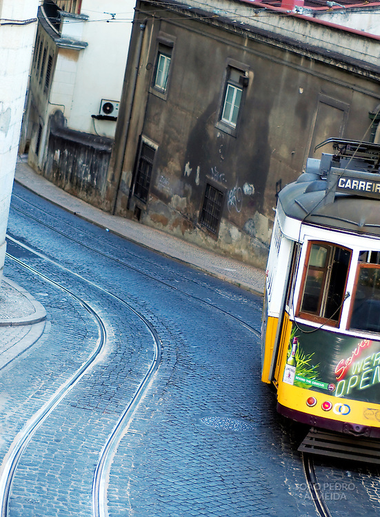 Lisbon's 28 tram at descending one of the seven hills