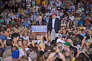 Mobile, Ala., on August 21, 2015, U.S. Senator Jeff Sessions endorses  Donald Trump on stage at a rally at Ladd-Peebles Stadium.