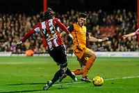 Brentford FC's Jota scores his side's fourth goal during the Sky Bet Championship match between Brentford and Wolverhampton Wanderers at Griffin Park, London 29/11/2014 Picture by Mark D Fuller