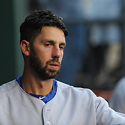 Chris Colabello, Toronto Blue Jays, in the dugout preparing to bat during the New York Mets Vs Toronto Blue Jays MLB regular season baseball game at Citi Field, Queens, New York. USA. 16th June 2015. Photo Tim Clayton