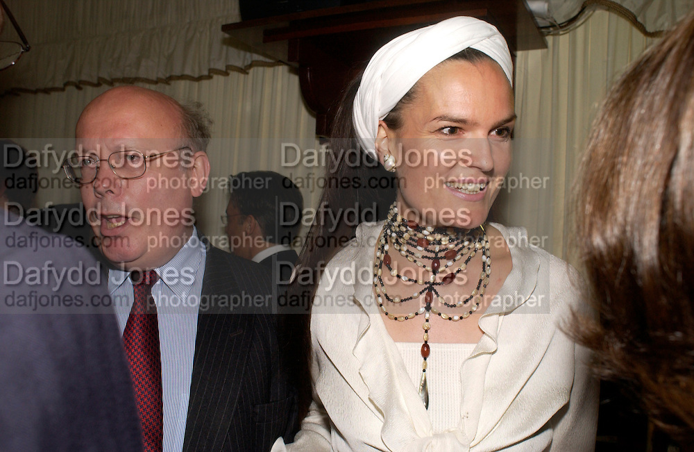 Julian Fellowes, and Lady Emma Kitchener Fellowes  Conservative Party Chairmen's Summer reception, House of Commons Terace, 7 July 2004. SUPPLIED FOR ONE-TIME USE ONLY-DO NOT ARCHIVE. © Copyright Photograph by Dafydd Jones 66 Stockwell Park Rd. London SW9 0DA Tel 020 7733 0108 www.dafjones.com