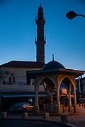 Israel, Jaffa. The Mahmoudiya Mosque ablutions fountain, a ritual purification fountain near the entrance to the mosque at dawn