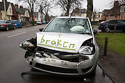 After a recent car crash, a smashed Ford Fiesta with activated airbags is parked on the side of the road awaiting recovery with the word 'Broken' written on the bonnet. Dunfermline, Scotland.  (photo by Andrew Aitchison / In pictures via Getty Images)
