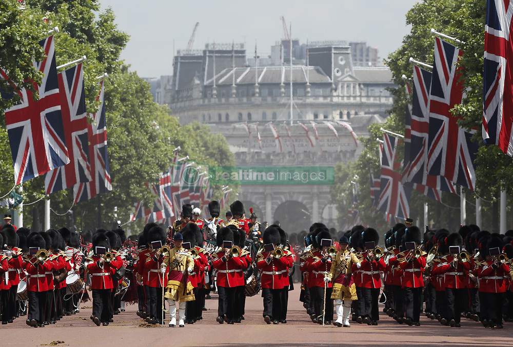 Jun. 17, 2017 - London, England, United Kingdom - Cavalries march on the Mall during Trooping the Colour Parade 2017. (Credit Image: © Han Yan/Xinhua via ZUMA Wire)