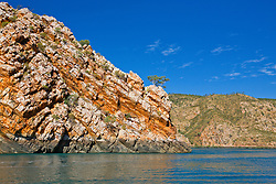 Striking sandstone cliffs near the Horizontal Waterfalls in Talbot Bay on the Kimberley coast.