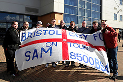 Bristol City fans with a flag - Photo mandatory by-line: Dougie Allward/JMP - Mobile: 07966 386802 22/03/2014 - SPORT - FOOTBALL - Colchester - Colchester Community Stadium - Colchester United v Bristol City - Sky Bet League One